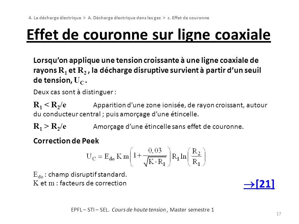 Effet de couronne sur ligne coaxiale 17 Lorsquon applique une tension croissante à une ligne coaxiale de rayons R 1 et R 2, la décharge disruptive sur