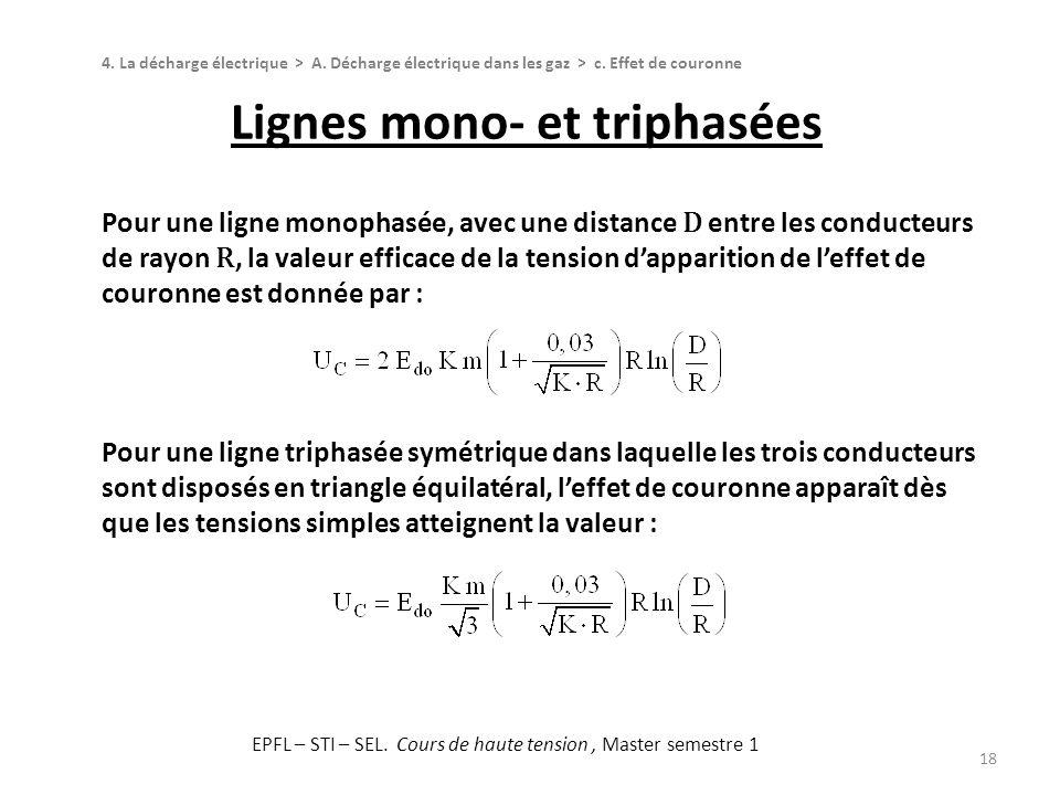 Lignes mono- et triphasées 18 4. La décharge électrique > A. Décharge électrique dans les gaz > c. Effet de couronne Pour une ligne monophasée, avec u
