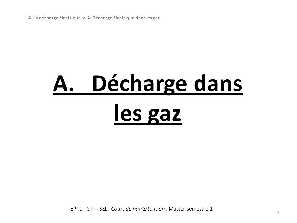 2 A. Décharge dans les gaz 4. La décharge électrique > A. Décharge électrique dans les gaz EPFL – STI – SEL. Cours de haute tension, Master semestre 1