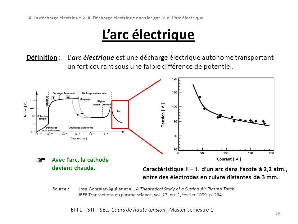 Larc électrique 26 Définition :Larc électrique est une décharge électrique autonome transportant un fort courant sous une faible différence de potenti