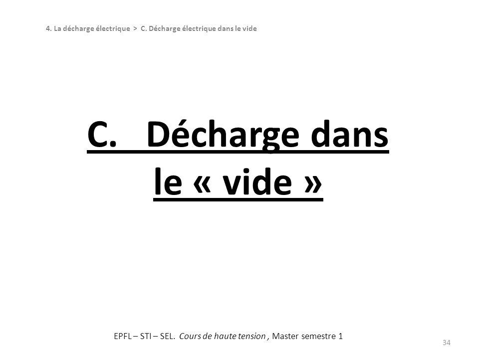 34 C. Décharge dans le « vide » 4. La décharge électrique > C. Décharge électrique dans le vide EPFL – STI – SEL. Cours de haute tension, Master semes