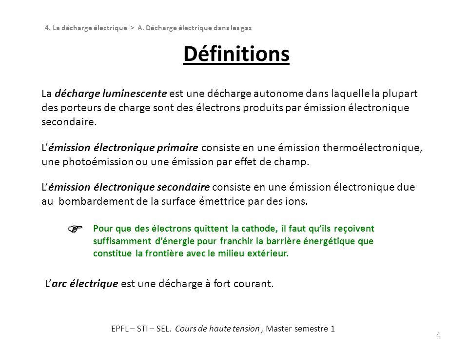 Définitions 4 La décharge luminescente est une décharge autonome dans laquelle la plupart des porteurs de charge sont des électrons produits par émiss