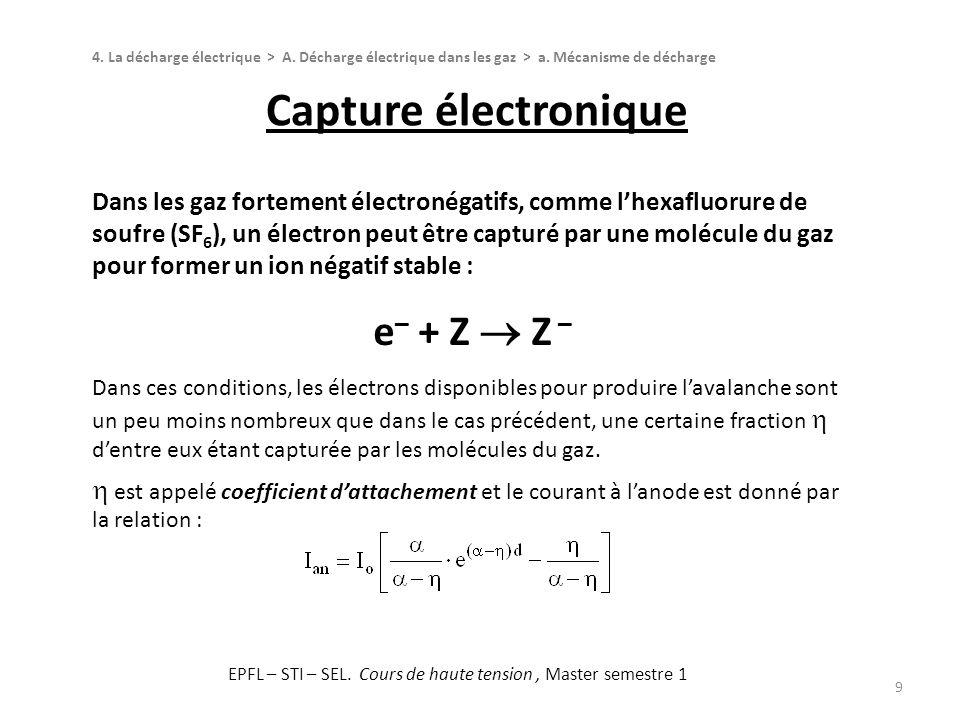 Capture électronique 9 4. La décharge électrique > A. Décharge électrique dans les gaz > a. Mécanisme de décharge Dans les gaz fortement électronégati