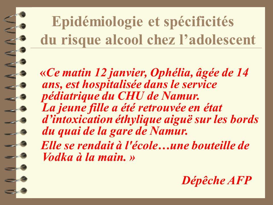Epidémiologie et spécificités du risque alcool chez ladolescent «Ce matin 12 janvier, Ophélia, âgée de 14 ans, est hospitalisée dans le service pédiat