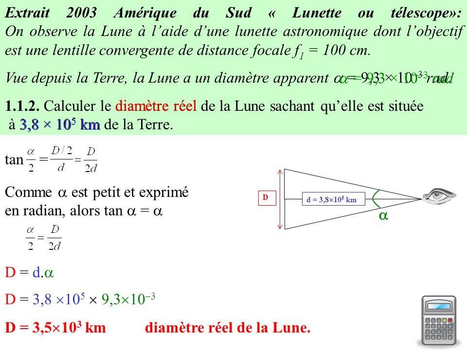 -cas de la lunette astronomique: modélisation B A A lœil nu, lœil observerait lobjet astronomique AB avec un diamètre apparent petit A F2 F2 L1L1 O1O1 O2O2 L2L2 F 1 B1B1 A1A1 F2F2 B Avec la lunette (objectif L 1 + oculaire L 2 ), lœil observe limage AB de lobjet avec un plus grand diamètre apparent Donc plus de détails sont visibles.