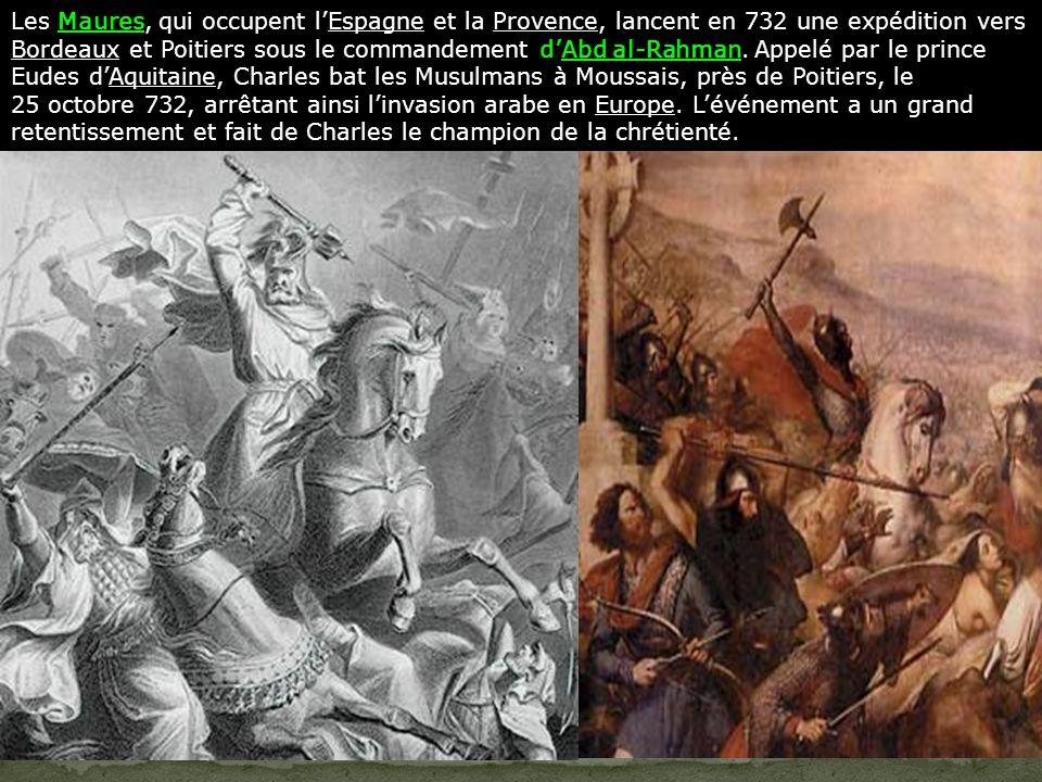 Les Maures, qui occupent lEspagne et la Provence, lancent en 732 une expédition vers Bordeaux et Poitiers sous le commandement dAbd al-Rahman.