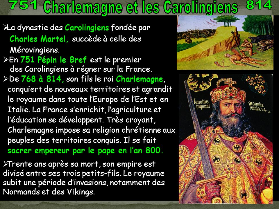 Charles II le chauve Lothaire Louis le Germanique CharlemagnePépin le bref FilsPetit-Fils ROIS DE France CAROLINGIENS Louis V Charles III Louis II Fil