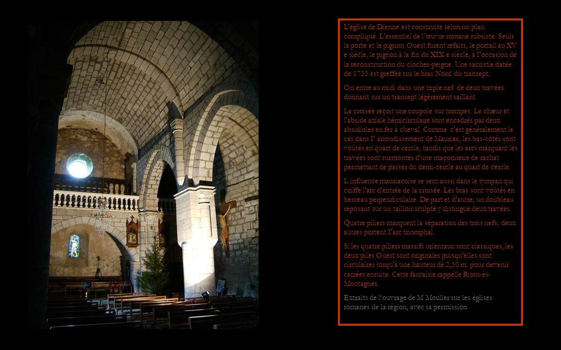 Léglise de DIENNE présente un ensemble rare de chapiteaux de la même époque probablement le XI e dont aucun ne représente une scène biblique.