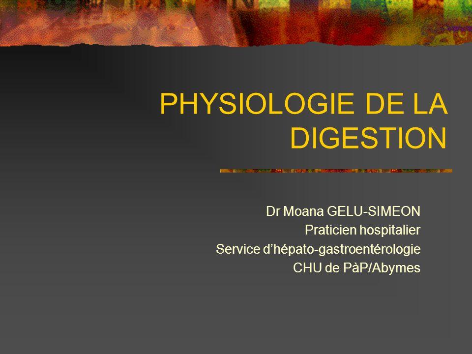 PHYSIOLOGIE DE LA DIGESTION Dr Moana GELU-SIMEON Praticien hospitalier Service dhépato-gastroentérologie CHU de PàP/Abymes