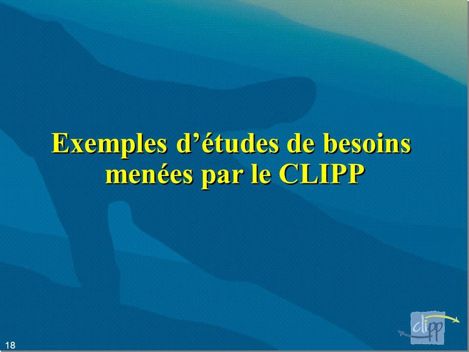 18 Exemples détudes de besoins menées par le CLIPP
