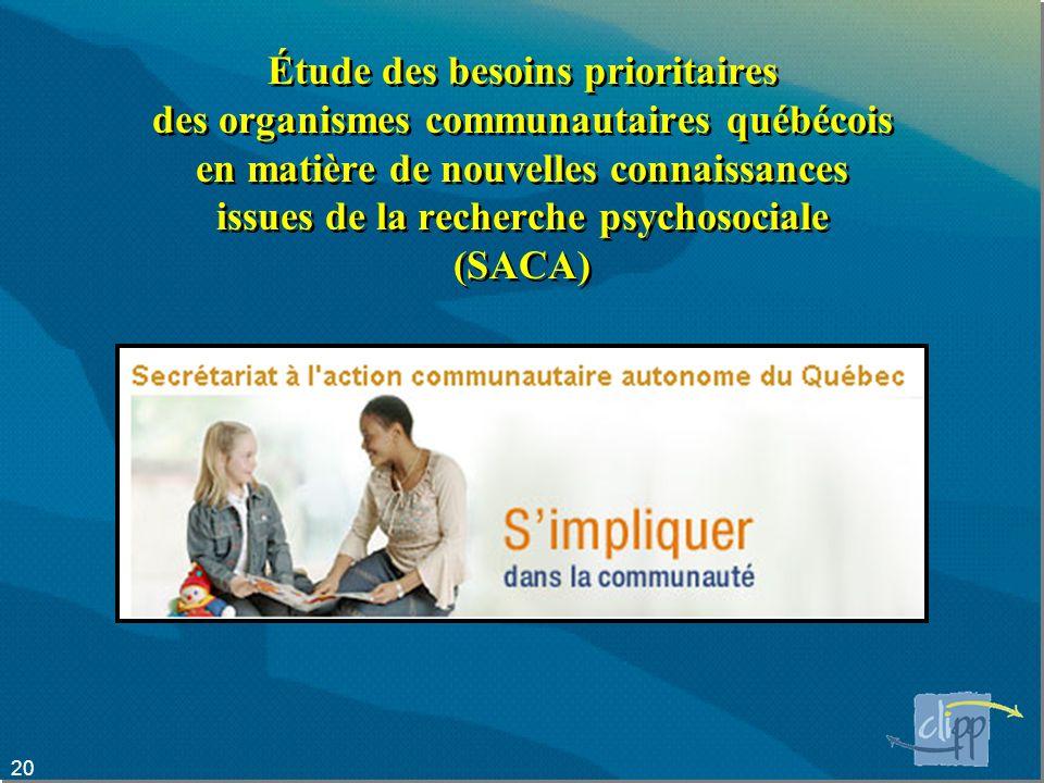 20 Étude des besoins prioritaires des organismes communautaires québécois en matière de nouvelles connaissances issues de la recherche psychosociale (SACA)