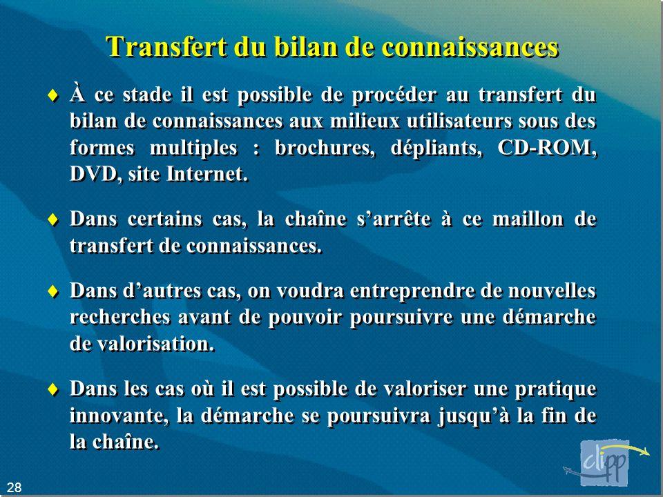 28 Transfert du bilan de connaissances À ce stade il est possible de procéder au transfert du bilan de connaissances aux milieux utilisateurs sous des formes multiples : brochures, dépliants, CD-ROM, DVD, site Internet.