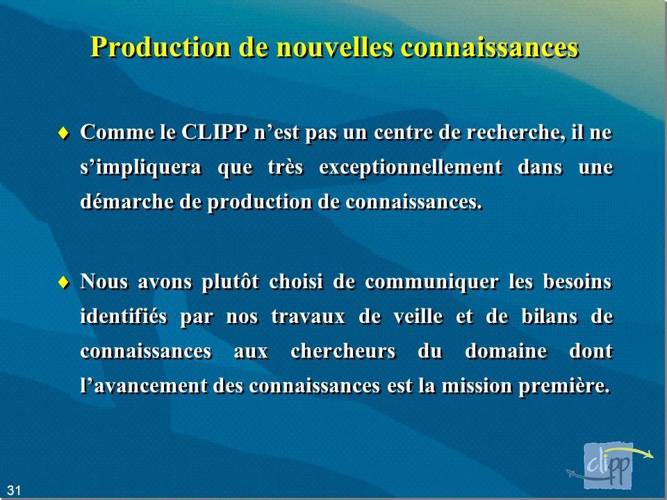 31 Production de nouvelles connaissances Comme le CLIPP nest pas un centre de recherche, il ne simpliquera que très exceptionnellement dans une démarche de production de connaissances.