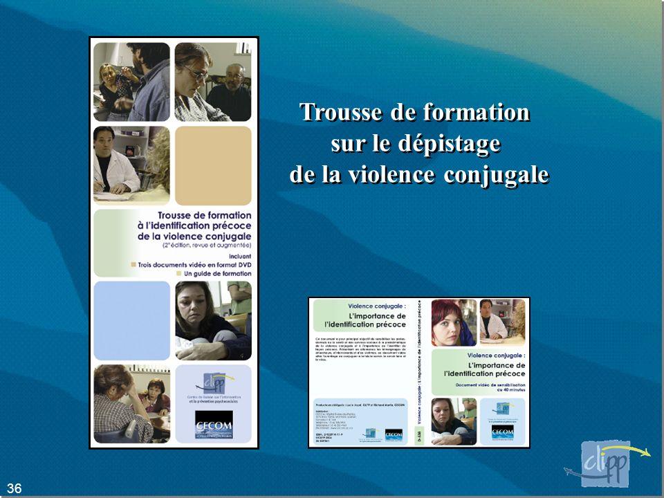 36 Trousse de formation sur le dépistage de la violence conjugale Trousse de formation sur le dépistage de la violence conjugale