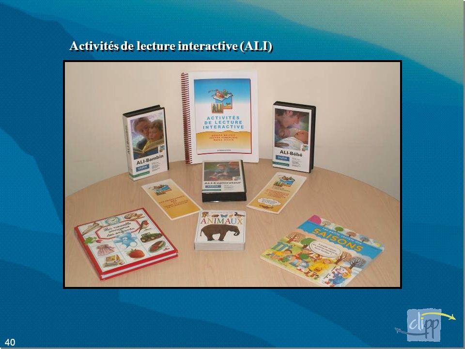 40 Activités de lecture interactive (ALI)