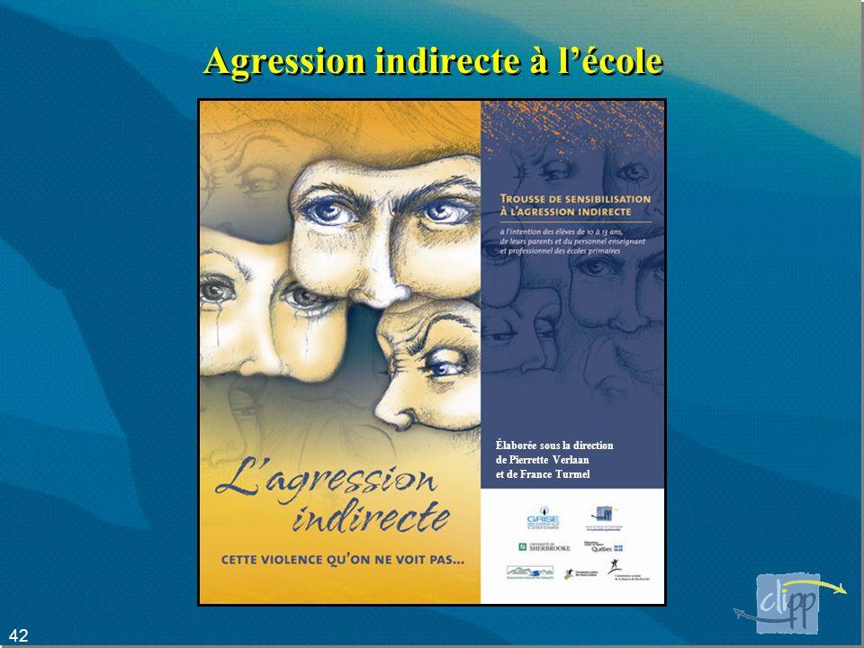 42 Agression indirecte à lécole Élaborée sous la direction de Pierrette Verlaan et de France Turmel