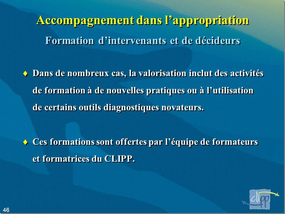 46 Accompagnement dans lappropriation Dans de nombreux cas, la valorisation inclut des activités de formation à de nouvelles pratiques ou à lutilisation de certains outils diagnostiques novateurs.