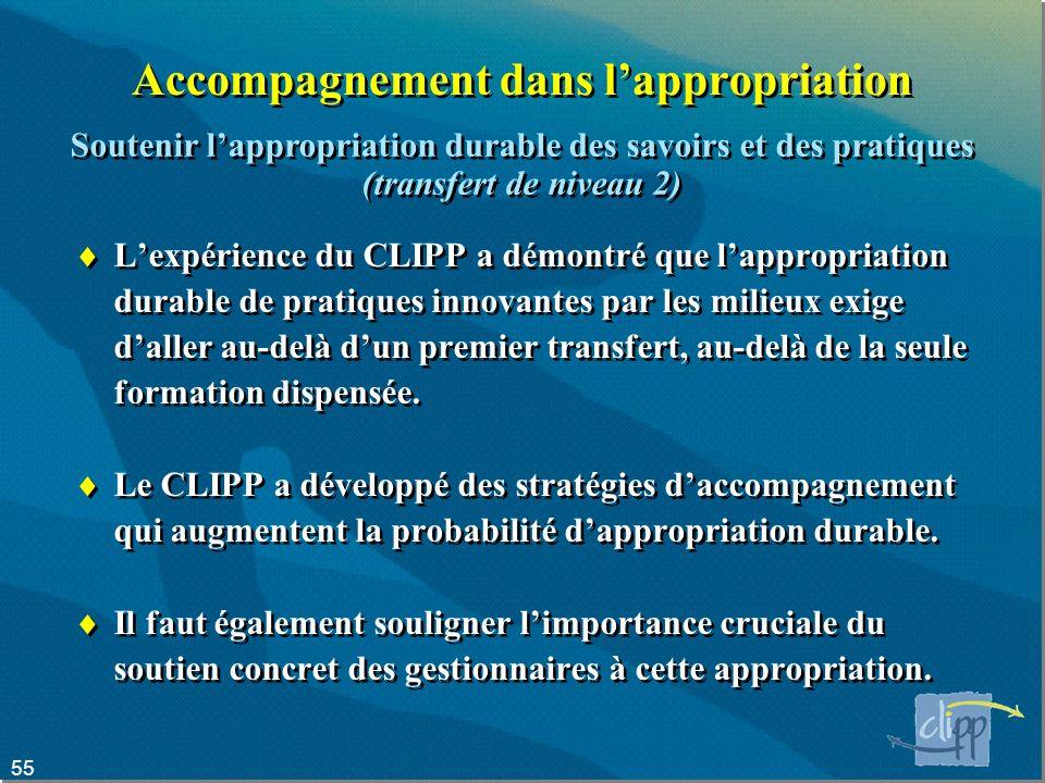 55 Accompagnement dans lappropriation Lexpérience du CLIPP a démontré que lappropriation durable de pratiques innovantes par les milieux exige daller au-delà dun premier transfert, au-delà de la seule formation dispensée.