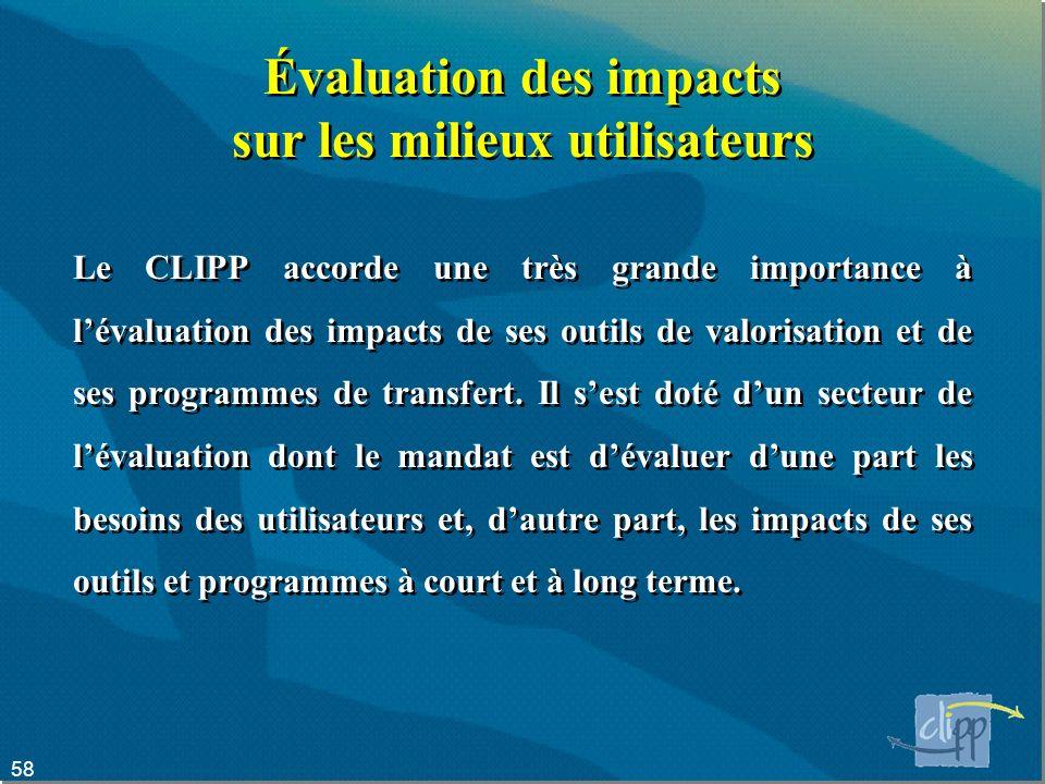 58 Évaluation des impacts sur les milieux utilisateurs Le CLIPP accorde une très grande importance à lévaluation des impacts de ses outils de valorisation et de ses programmes de transfert.