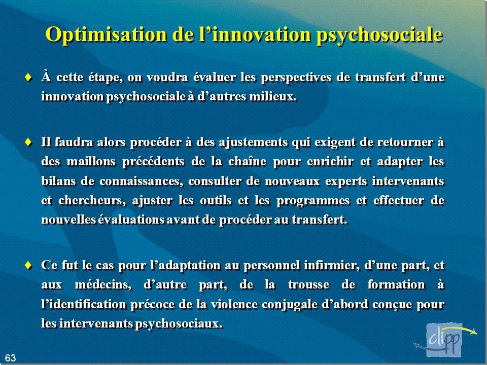 63 Optimisation de linnovation psychosociale À cette étape, on voudra évaluer les perspectives de transfert dune innovation psychosociale à dautres milieux.
