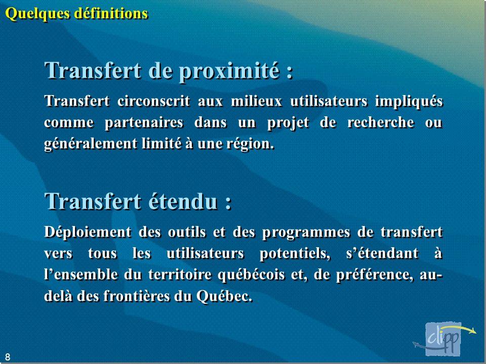 8 Quelques définitions Transfert de proximité : Transfert circonscrit aux milieux utilisateurs impliqués comme partenaires dans un projet de recherche ou généralement limité à une région.