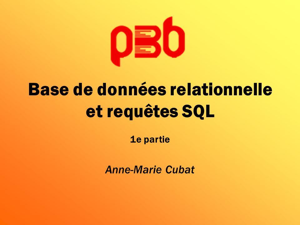 Base de données relationnelle et requêtes SQL Anne-Marie Cubat 1e partie