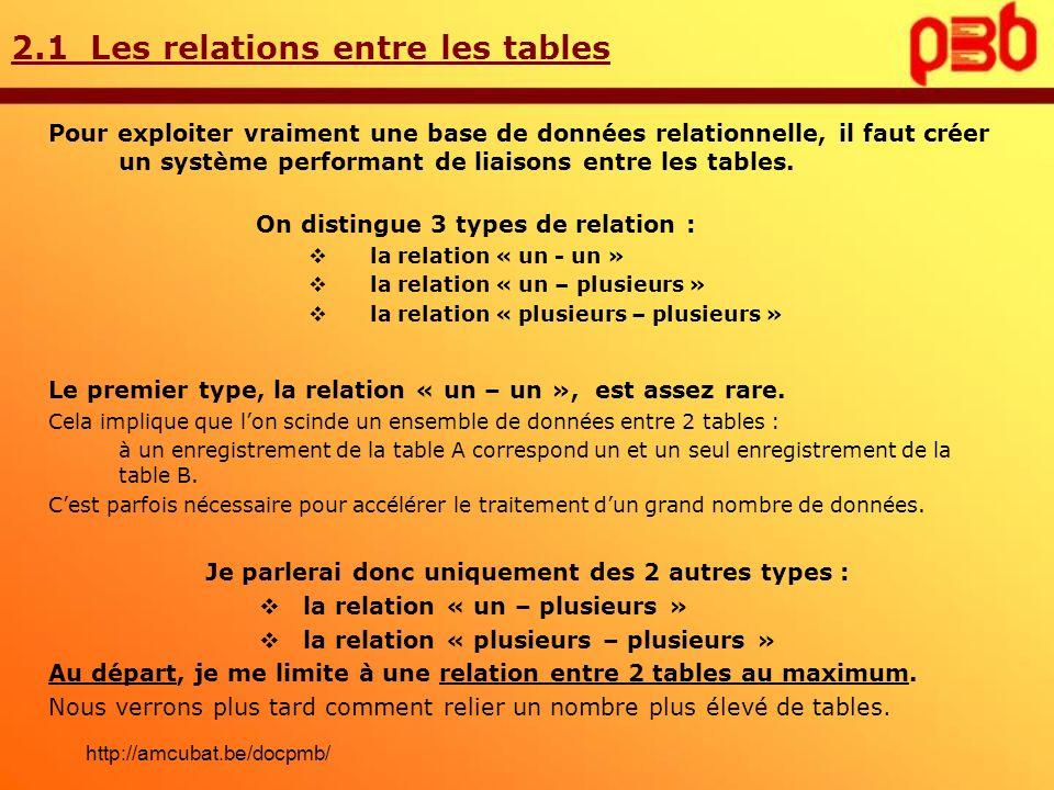 2.1 Les relations entre les tables Pour exploiter vraiment une base de données relationnelle, il faut créer un système performant de liaisons entre le