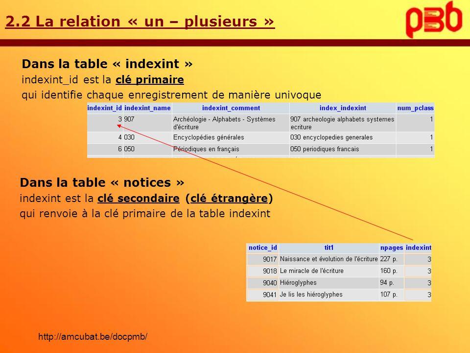2.2 La relation « un – plusieurs » Dans la table « indexint » indexint_id est la clé primaire qui identifie chaque enregistrement de manière univoque