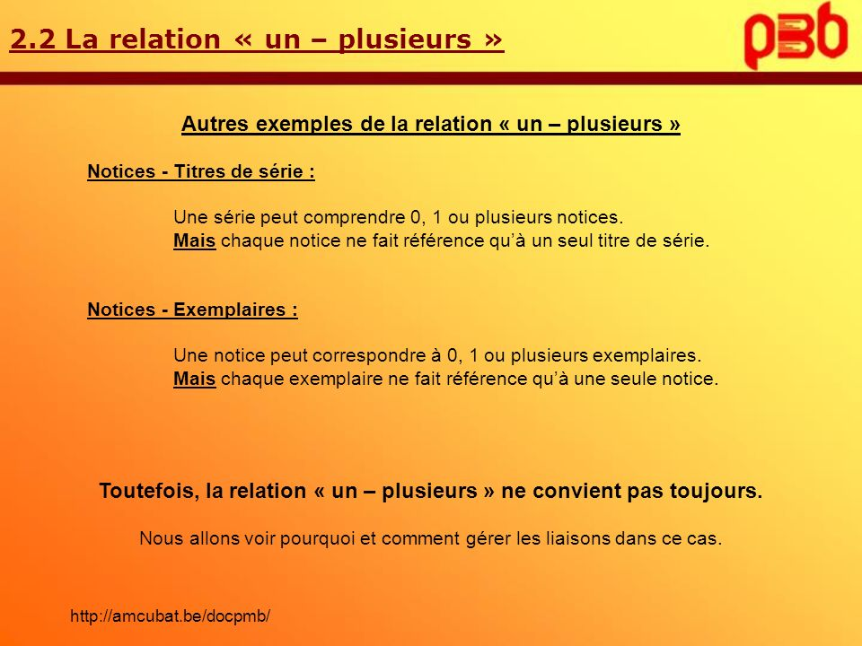 2.2 La relation « un – plusieurs » Autres exemples de la relation « un – plusieurs » Notices - Titres de série : Une série peut comprendre 0, 1 ou plu