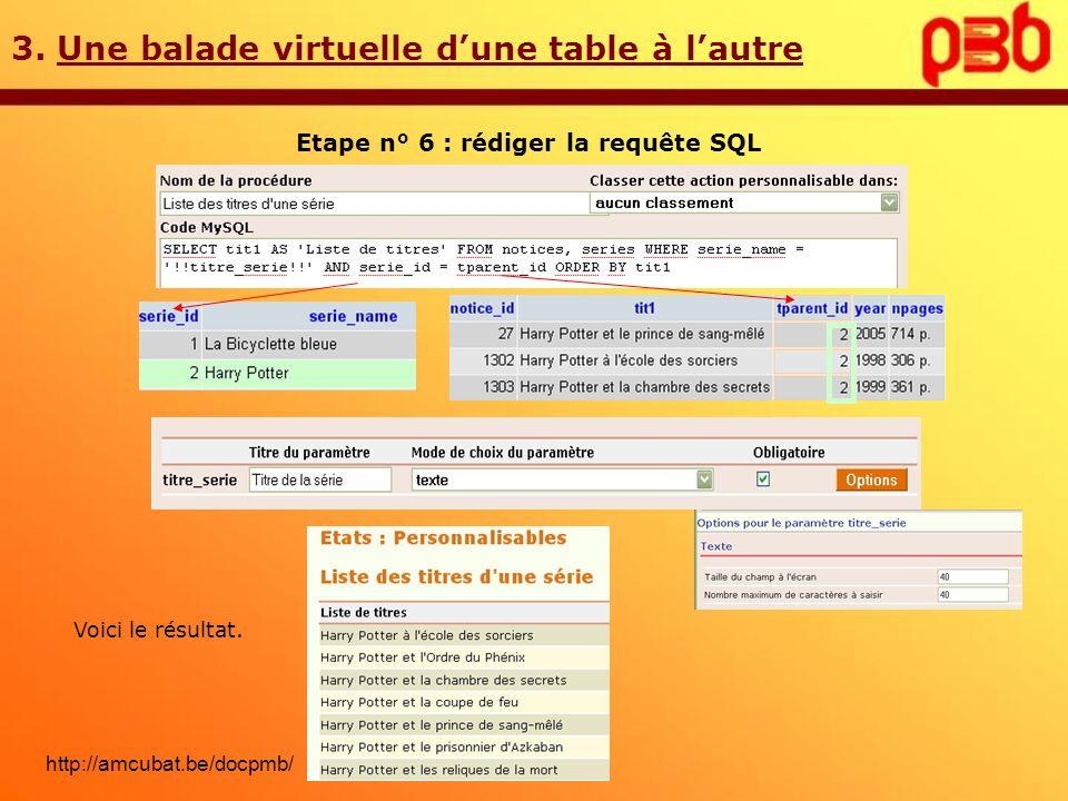 3. Une balade virtuelle dune table à lautre Etape n° 6 : rédiger la requête SQL Voici le résultat. http://amcubat.be/docpmb/