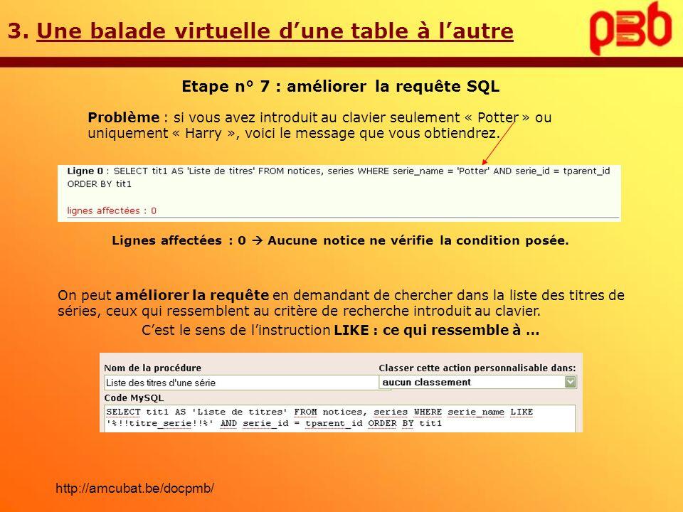 3. Une balade virtuelle dune table à lautre Etape n° 7 : améliorer la requête SQL Problème : si vous avez introduit au clavier seulement « Potter » ou