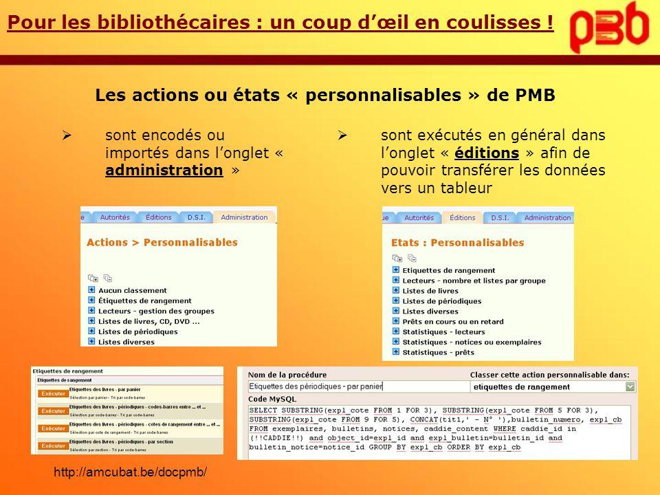 Les actions ou états « personnalisables » de PMB sont exécutés en général dans longlet « éditions » afin de pouvoir transférer les données vers un tab