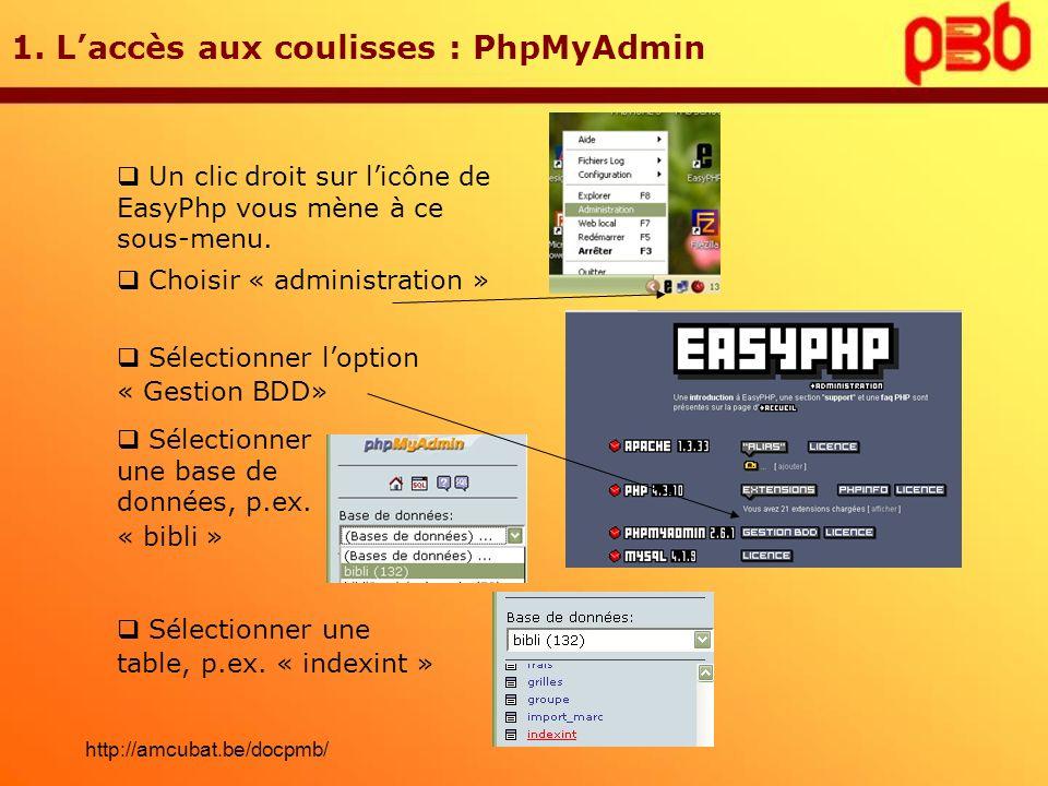 1. Laccès aux coulisses : PhpMyAdmin Un clic droit sur licône de EasyPhp vous mène à ce sous-menu. Choisir « administration » Sélectionner loption « G