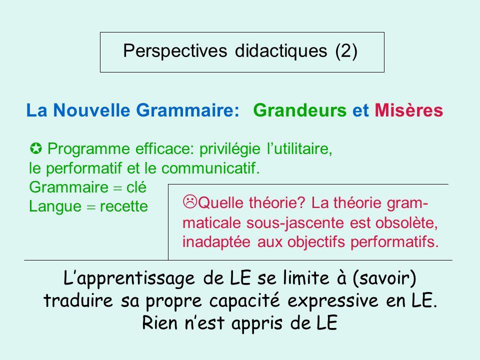 Perspectives didactiques (2) Nouvelles grammaires: Grammaire vivante, Grammaire au présent, Grammaire progressive, Grammaire de base Nouvelles méthode