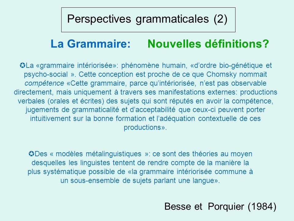 Perspectives grammaticales (1) «discipline étudiant les règles de fonctionnement ou dévolution de toute langue naturelle» La Grammaire:Nouvelles défin