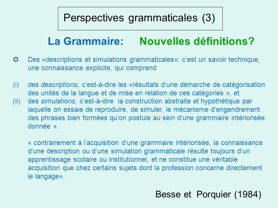 Perspectives grammaticales (2) La «grammaire intériorisée»: phénomène humain, «dordre bio-génétique et psycho-social ». Cette conception est proche de