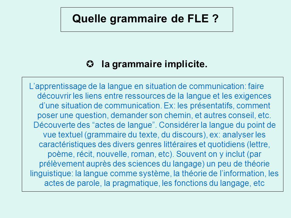 Perspectives grammaticales (3) La Grammaire:Nouvelles définitions? Besse et Porquier (1984) Des «descriptions et simulations grammaticales»: cest un s