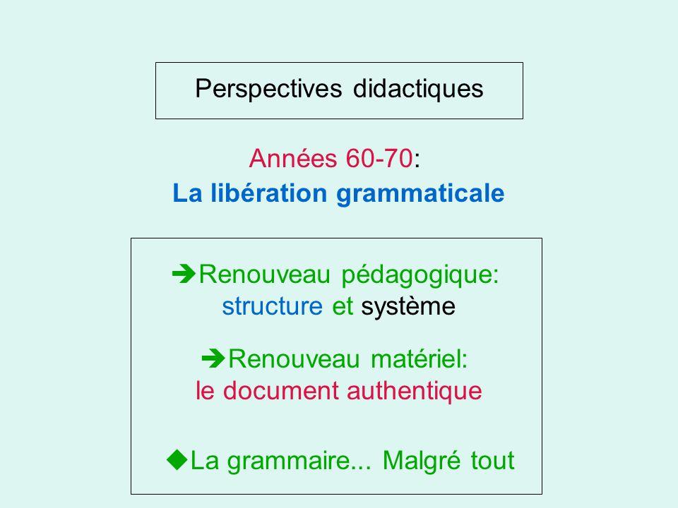 Perspectives didactiques Au commencement était LE BON USAGE Virginité terminologique Pratique(s) de la langue Méthodes audio-vidéo-orales... Années 60