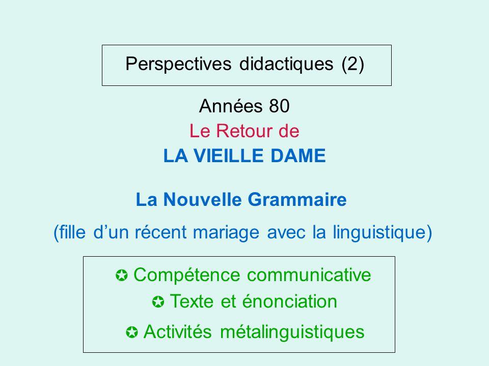 Perspectives didactiques La grammaire... Malgré tout Renouveau matériel: le document authentique Renouveau pédagogique: structure et système Années 60