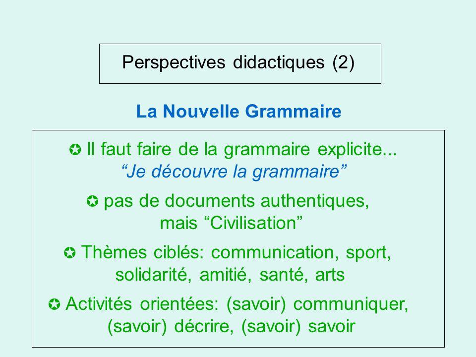 Perspectives didactiques (2) Années 80 Le Retour de LA VIEILLE DAME Activités métalinguistiques Texte et énonciation Compétence communicative La Nouve