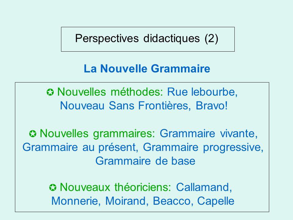 Perspectives didactiques (2) Nouvelles grammaires: Grammaire vivante, Grammaire au présent, Grammaire progressive, Grammaire de base Nouvelles méthodes: Rue lebourbe, Nouveau Sans Frontières, Bravo.