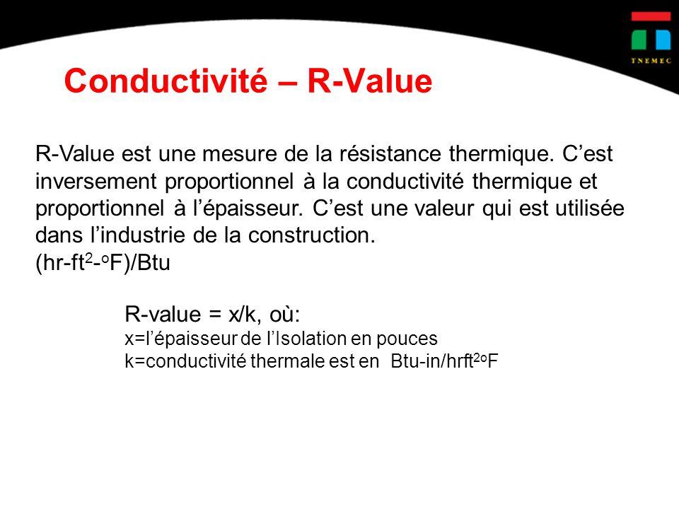 Conductivité – R-Value R-Value est une mesure de la résistance thermique. Cest inversement proportionnel à la conductivité thermique et proportionnel