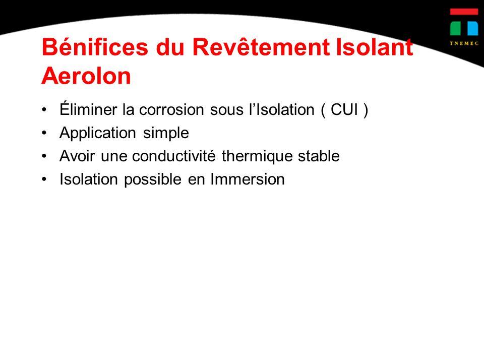 Bénifices du Revêtement Isolant Aerolon Éliminer la corrosion sous lIsolation ( CUI ) Application simple Avoir une conductivité thermique stable Isolation possible en Immersion