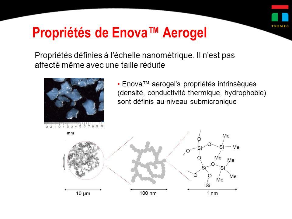Propriétés définies à l'échelle nanométrique. Il n'est pas affecté même avec une taille réduite Enova aerogels propriétés intrinsèques (densité, condu