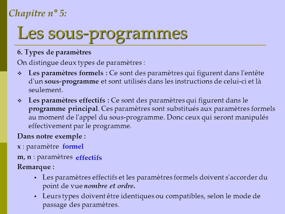 Les sous-programmes 6. Types de paramètres On distingue deux types de paramètres : Les paramètres formels : Ce sont des paramètres qui figurent dans l
