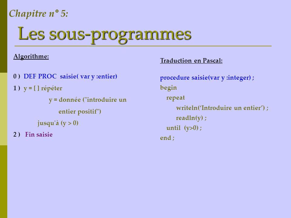 Les sous-programmes Algorithme: 0 ) DEF PROC saisie( var y :entier) 1 ) y = [ ] répéter y = donnée (