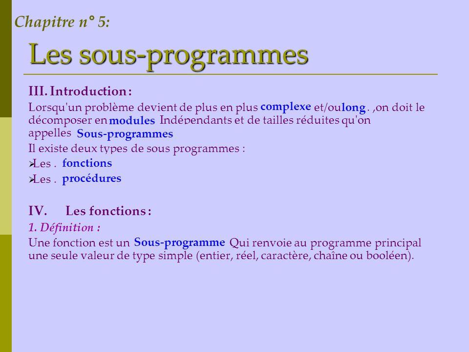 Les sous-programmes III. Introduction : Lorsqu'un problème devient de plus en plus ……… et/ou …….,on doit le décomposer en ………… Indépendants et de tail