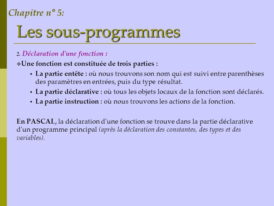 Les sous-programmes 2. Déclaration d'une fonction : Une fonction est constituée de trois parties : La partie entête : où nous trouvons son nom qui est