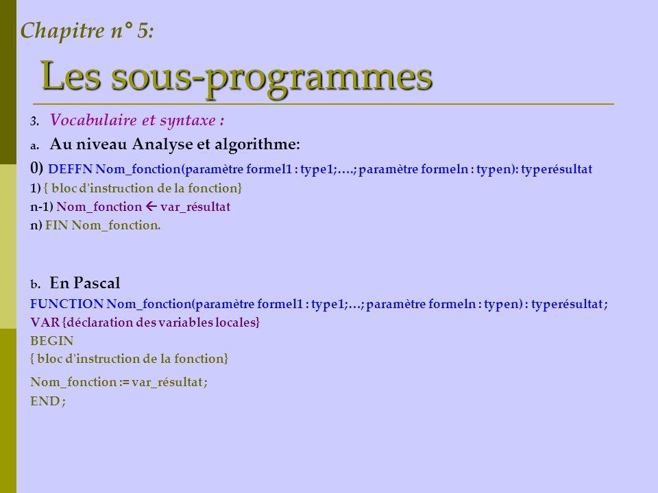 Les sous-programmes Algorithme: 0 ) DEF PROC saisie( var y :entier) 1 ) y = [ ] répéter y = donnée ( introduire un entier positif ) jusqu à (y > 0) 2 ) Fin saisie Chapitre n° 5: Traduction en Pascal: procedure saisie(var y :integer) ; begin repeat writeln(Introduire un entier) ; readln(y) ; until (y>0) ; end ;