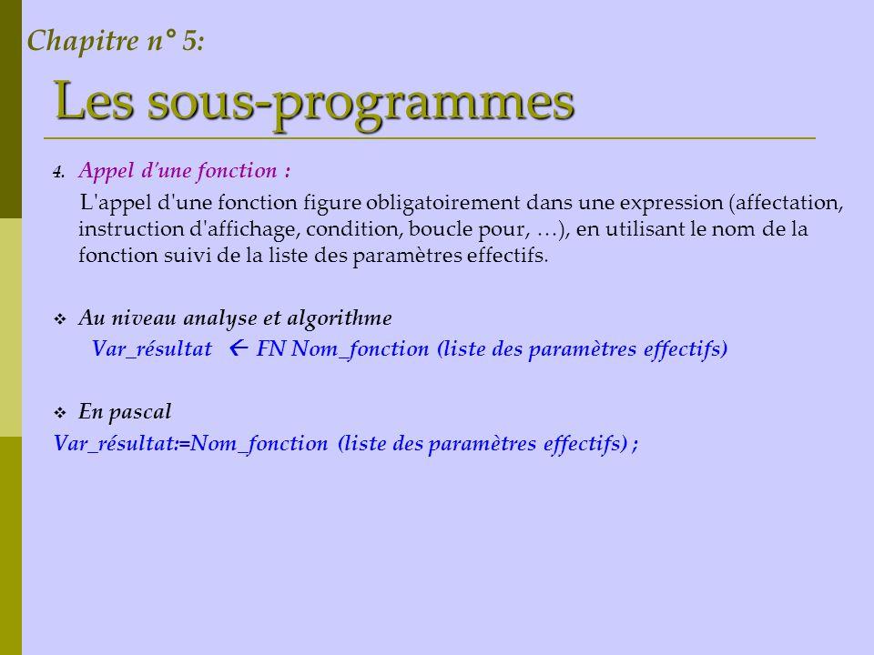 Les sous-programmes Revenons à l activité 1, le programme principal deviendra comme suit : Analyse du programme amis : Résultat = Ecrire(m, et , n, message) m = [ ] répéter m = donnée ( introduire un entier positif ) jusqu à (m > 0) n = [ ] répéter n = donnée ( introduire un entier positif ) jusqu à (n > 0) Message = [ ] si (sdm = n) et (sdn = m) alors Message sont amis sinon Message est ne sont pas amis finsi …………………………… Fin amis Chapitre n° 5: 1 2 3 Tableau de déclaration des objets globaux: 4 5 6 7 ObjetTypeRôle m n Message sdm Sdn Som_div Entier Chaîne de caractères Entier Fonction Un entier strictement positif Message amis ou non Somme des diviseurs de m Somme des diviseurs de n Calcule la somme des diviseurs strictes dun entier sdn FN som_div(n) sdm FN som_div(m)